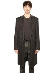 Blk Dnm Soft Hemp Twill And Leather Coat