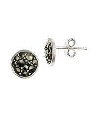 Lord And Taylor Sterling Silver Marcasite Stud Earrings