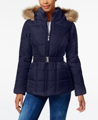 Rampage Faux Fur Trim Hooded Belted Puffer Coat Only At Macy's Navy