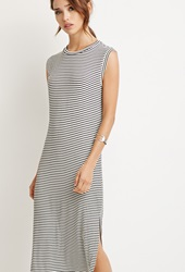Forever 21 Stripe Ribbed Knit Dress Black White