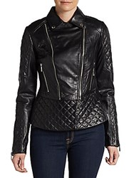 Dawn Levy Quilted Leather Moto Jacket Black
