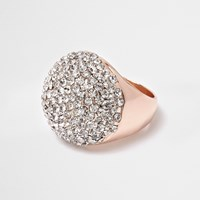 River Island Womens Rose Gold Tone Encrusted Dome Ring