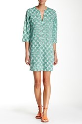 Ganesh Split Neck Tunic Dress Green