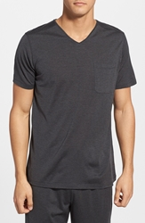 Daniel Buchler Silk And Cotton V Neck T Shirt Charcoal