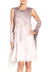 Komarov Women's Embellished Charmeuse Trapeze Dress And Chiffon Shawl