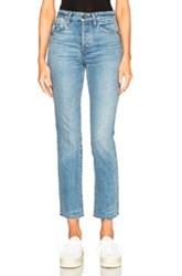 Helmut Lang High Rise Crop Fray In Blue