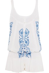 Melissa Odabash Jaz Crochet Trimmed Embroidered Voile Dress White