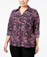 Ny Collection Plus Size Paisley Print Utility Shirt Oxford Icemoon