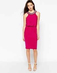 Binky For Lipstick Boutique Queensway Embellished Halter Dress Raspberry
