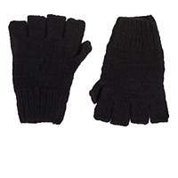 The Elder Statesman Women's Cashmere Fingerless Gloves Black Blue Black Blue