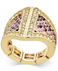 Thalia Sodi Gold Tone Pink Snakeskin Inspired And Crystal Statement Stretch Ring Only At Macy's