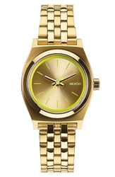 Nixon 'The Small Time Teller' Bracelet Watch 26Mm Gold Neon Yellow