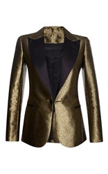 Elie Saab Lame Smocking Jacket With Satin Collar Gold