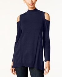 Styleandco. Style Co. Cold Shoulder Mock Neck Sweater Only At Macy's Industrial Blue