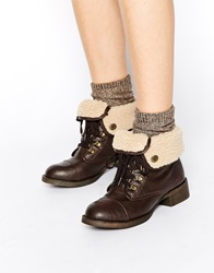 Blowfish Karona Foldover Shearling Lace Ankle Boots Chocoldsaddle