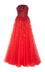 Carolina Herrera Ombre Floral Embellished Ball Gown Red