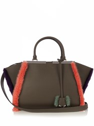Fendi 3Jours Small Mink Trimmed Leather Tote Grey Multi