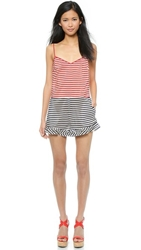 Red Valentino Striped Silk Romper Ruby