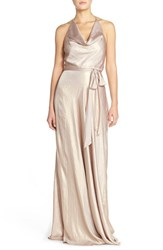 Women's Nouvelle Amsale 'Liane' Liquid Chiffon Draped Halter Gown Rose Gold