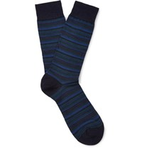 Pantherella Stannard Striped Wool Blend Socks Navy