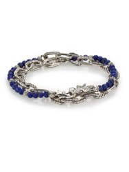 John Hardy Batu Naga Lapis Bead And Sterling Silver Chain Double Wrap Bracelet