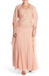 Plus Size Women's Alex Evenings Mock Two Piece Embroidered V Neck Gown With Shawl