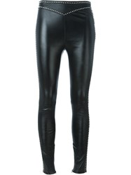 Saint Laurent Studded Leather Leggings Black