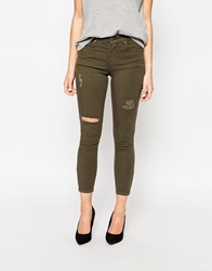Oasis Ripped Issabella Cropped Jean Khaki