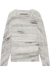 Raquel Allegra Tie Dyed Cotton Terry Sweatshirt Gray
