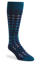 Hook Albert 'Smoke N Mirrors' Houndstooth Socks Blue
