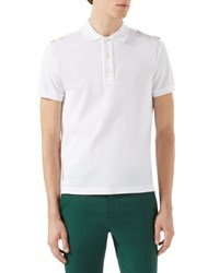 Gucci Short Sleeve Polo Shirt W Tabbed Shoulders White