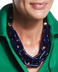 Mixed Chain Link Necklace Navy Lafayette 148 New York