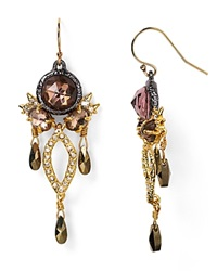 Alexis Bittar Elements Rose Cut Pink Tourmaline And Pyrite Chandelier Earrings Ruthenium Gold