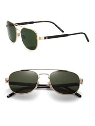 Montblanc 55Mm Metal Aviator Sunglasses Black