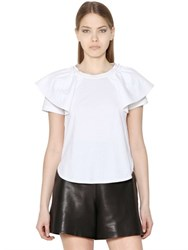 Chloe Cotton Jersey Ruffled Top