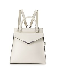 Neiman Marcus Isla Faux Leather Backpack White