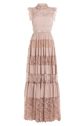 Elie Saab Floor Length Dress With Lace Mauve
