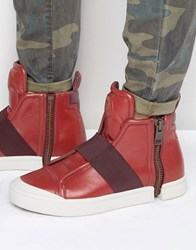 Diesel Nentish Hi Top Strap Trainers Red