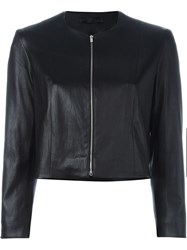 The Row Cropped Leather Jacket Black