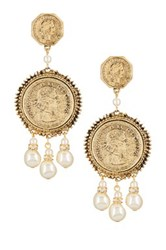 Yochi Design Elizabeth Regina Coin Earrings Metallic
