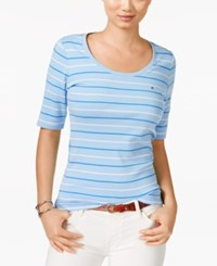 Tommy Hilfiger Striped Scoop Neck Tee Placid Blue