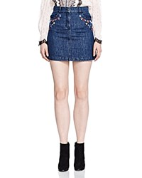 The Kooples Embroidered Denim Skirt Blue