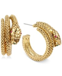 Betsey Johnson Gold Tone Snake Hoop Earrings