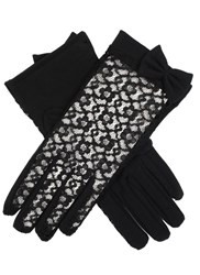 Dents Ladies Lace Back Glove With Cotton Palm Black