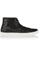 Nike Primo Court Leopard Print Suede High Top Sneakers Black