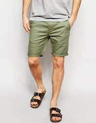 Asos Skinny Chino Shorts In Light Khaki Green