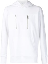 Ovadia And Sons Pullover Zip Hooded Sweater White