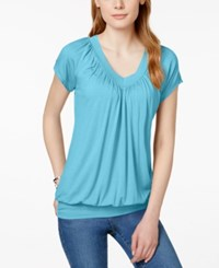 Jm Collection Short Sleeve V Neck Banded Hem Top Only At Macy's Turquoise Pool