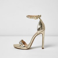 River Island Womens Gold Jewel Barely There Heeled Sandals