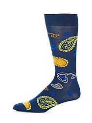 Saks Fifth Avenue Paisley Embroidered Socks Navy